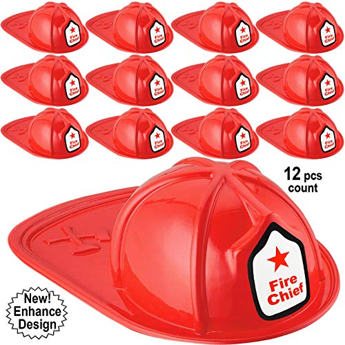 Kids Firefighter Hat | 12 Pcs Plastic Fire Hats for Kids | Double Axe Fire Chief Theme Party | Fun, Safe, Soft Firefighter Helmet Costume Dress Up Accessory | By
