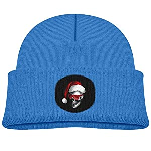 Santa Skull With Red Cool Sunglass Unisex Kids Beanie Caps RoyalBlue