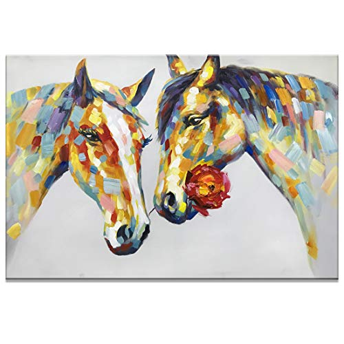 (Fasdi-ART Paintings, 24x36 Inch Paintings,Oil Painting Animal Horse 's Love 3D Hand-Painted On Canvas Abstract Artwork Art Wood Inside Framed Hanging Wall Decoration Abstract Painting (DF016))