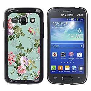 Paccase / SLIM PC / Aliminium Casa Carcasa Funda Case Cover para - Flowers Vintage Old Teal - Samsung Galaxy Ace 3 GT-S7270 GT-S7275 GT-S7272