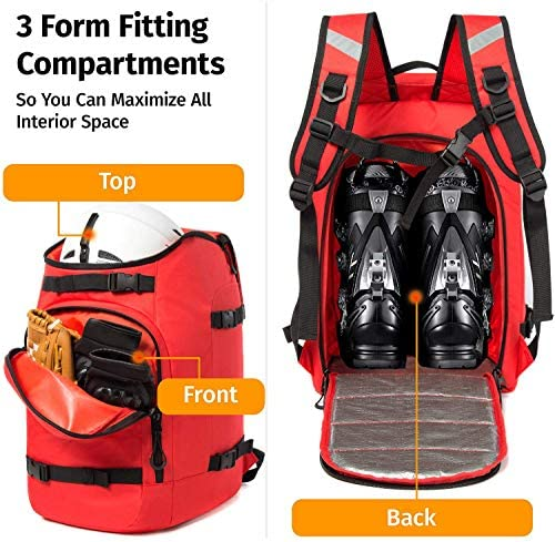 Ski Boot Bag 50L Waterproof Ski Boot Travel Backpack for Ski Helmet, Goggles, Gloves, Skis, Snowboard & Accessories for Men,Women and Youth