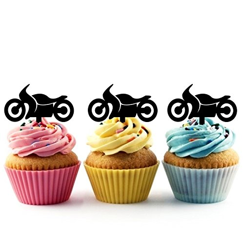 TA0178 Motorcycle Silhouette Party Wedding Birthday Acrylic Cupcake Toppers Decor 10 pcs ()