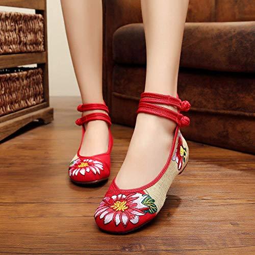 femme ethnique de la de à chaussures Fuxitoggo couleur décontracté l'intérieur tendon à rouge mode semelle taille hausse confortable brodées style la 40 pAw0tqaYt