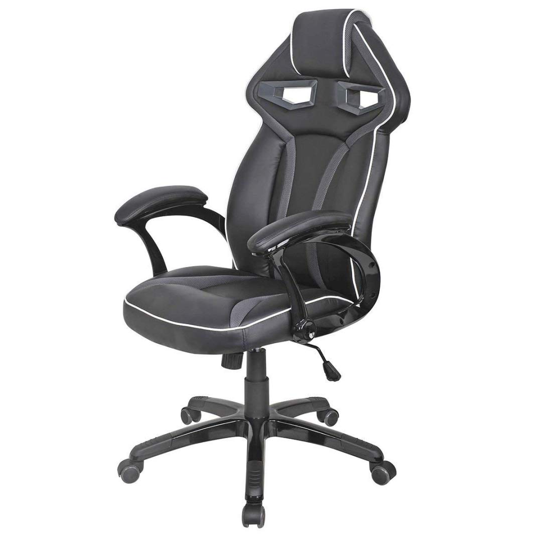 Modern Racing Car Style High Back Gaming Chair Comfortable Bucket Seat Adjustable Armrest Desk Task Thick Padded PU Leather Upholstery Posture Support Home Office Furniture - (1) Grey #2122 by KLS14