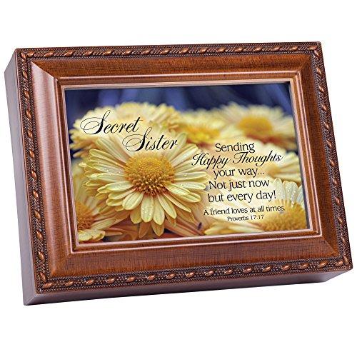 - Cottage Garden Secret Sister Sending Happy Thoughts Woodgrain Rope Trim Jewelry Music Box Plays Thy Faithfulness