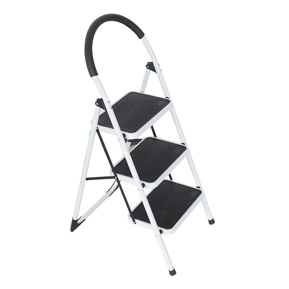 Livebest Folding Step Ladder 3 Step Anti-Slip Ladder Step Stool 3 Feet with Handrails and Wide Platforms Heavy Duty 330 Lb Capacity Iron Steel,White
