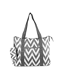 Ever Moda Grey Chevron Tote Bag X-Large 21-inch