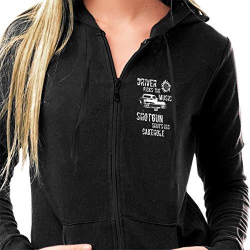 Driver Youth Sweatshirt - Women's Slim Fit Lightweight Long Sleeve Gym Hoodies, Casual Full-Zip Pullover Tops Supernatural Driver Picks The Music Active Sweatshirts with Pockets