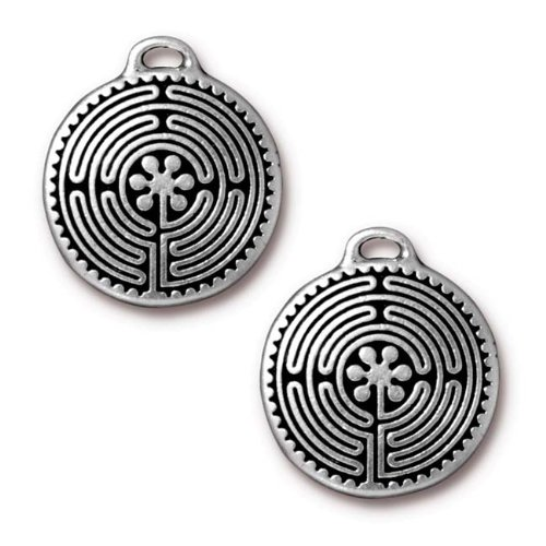Antiqued Silver Plated Labyrinth Round Pendant 26.5mm (1) TierraCast