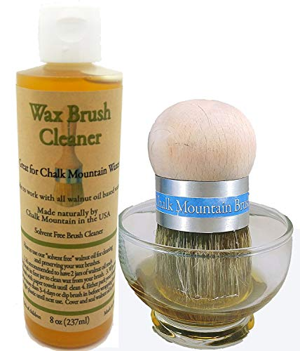 Chalk Mountain Brushes 8 oz Solvent Free All Natural Chalk Furniture Paint Wax Brush Cleaner. Made Especially for Walnut Based Waxes