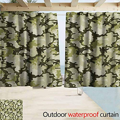 AndyTours Rod Pocket Top Blackout Curtains/Drapes,Camo Pattern in Green Shades Background Woodland Wild Nature Design,Room Darkening, Noise Reducing,W72x45L Inches,Pale Green Dark Green Pale Green