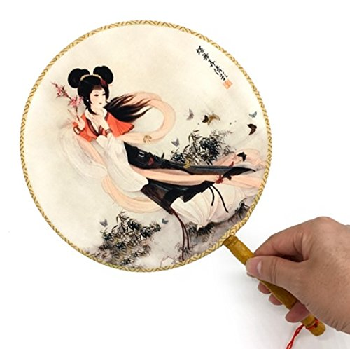 Chinese Vintage Round Polyester Bamboo Ancient Printing Palace Hand Fan Home Decoration Crafts Gifts For Women