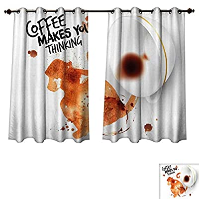 RuppertTextile Coffee Art Blackout Thermal Curtain Panel Thinking Monkey Animal with Fun Lettering and Inverted Coffee Cup Patterned Drape for Glass Door Burnt Sienna Black White
