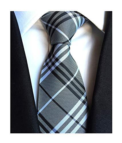 (Gray White Black Self Ties Woven Narrow Party Cool Italy Necktie 3.15