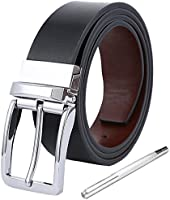 Emoily ベルト 革 ビジネス カジュアル 128cm サイズ調整可能 12ヶ月の品質保証 メンズ