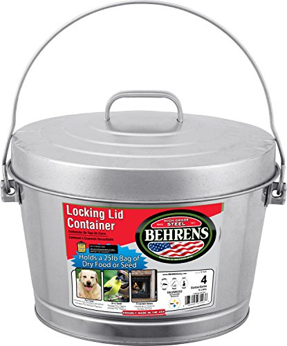 Behrens Manufacturing 6104 Galvanized Steel Locking Lid Can, 4 (Dog Plastic Bedding)