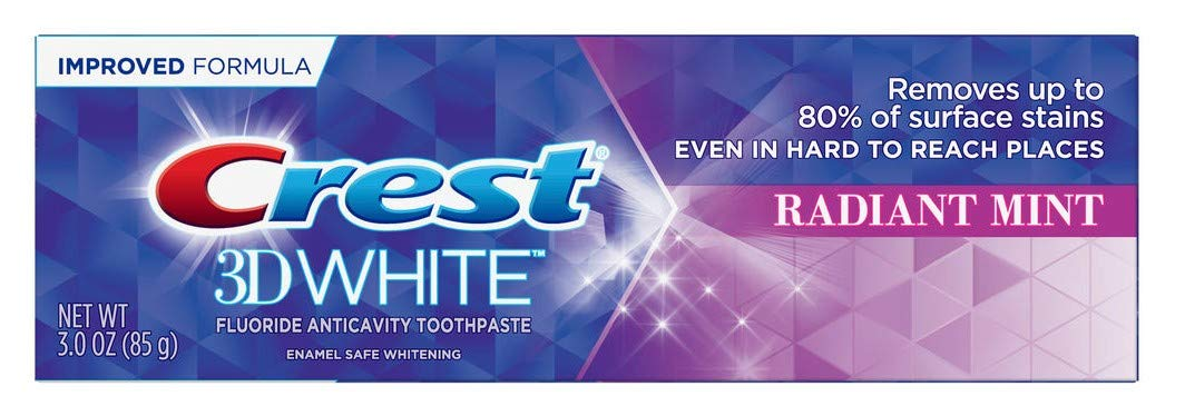 Crest Toothpaste 3 Ounce 3D White Radiant Mint (Pack of 6)