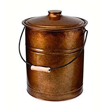 Double-Bottom Galvanized Steel Ash Bucket with Handle, in Copper