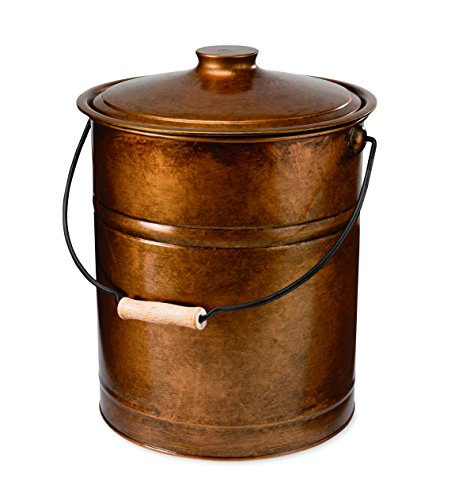 copper ash bucket with lid - 1