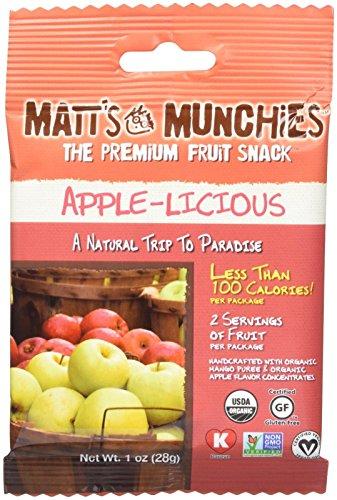 Matt's Munchies Organic Fruit Snack (1-Ounce Bag), Apple-licious, 12 Pack