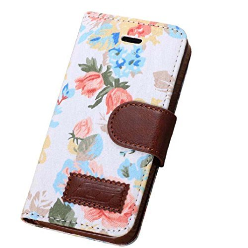 Iphone 5 Case, Shensee Fashion Flip Magnetic Wallet Floral Jacquard Leather Cover Case for Iphone 5c, Women Bag, Dirt-resistant, Anti-knock, Rhinestone Case, Compact, Elegant, Stylish, Card Slots for Carrying Id, Cash and Credit Cards (White)