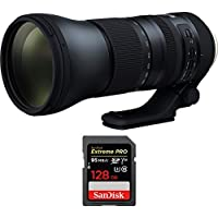 Tamron SP 150-600mm F/5-6.3 Di VC USD G2 Zoom Lens for Nikon Mounts (AFA022N-700) with Sandisk Extreme PRO SDXC 128GB UHS-1 Memory Card