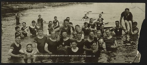 Historic Photos 1908 Photo Bathing Scene, Clear Lake, IA Postcard Shows Group of Men Standing Waist deep in Water at Clear Lake, Iowa. Location: Clear Lake, Iowa