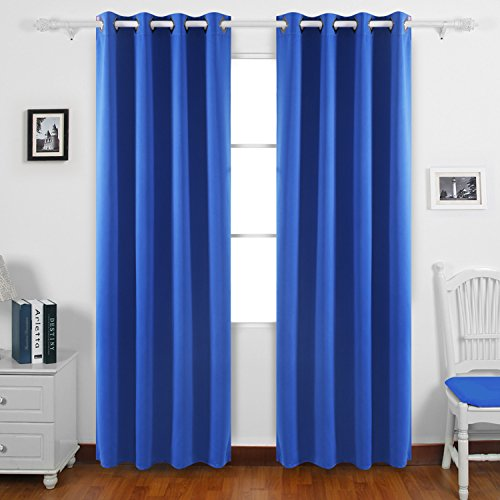 Deconovo Thermal Insulated Curtains Grommet Curtains Blackout Curtains Window Curtains for Boys Room 52W x 84L Inch Royal Blue 1 - Blue 52