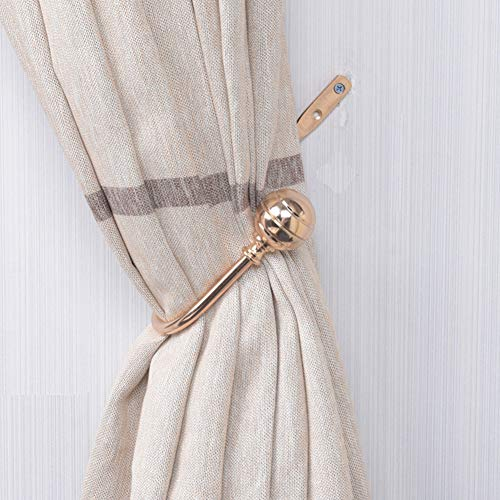Set of 2 Curtain Holdbacks, Curtain Tie Backs U Shaped Metal Curtain Holdbacks Wall Mounted Decorative Curtain Hooks Holder(Gold)