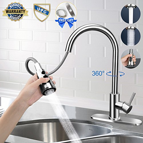 Kitchen faucet, Kitchen Faucets with Pull Down Sprayer Free Gift for Deck Plate and Water Hose. Easy to Stall, Fit for 1 or 3 Hole, Lead-Free Brushed Nickel Kitchen Sink Faucet with Pull Down Sprayer.