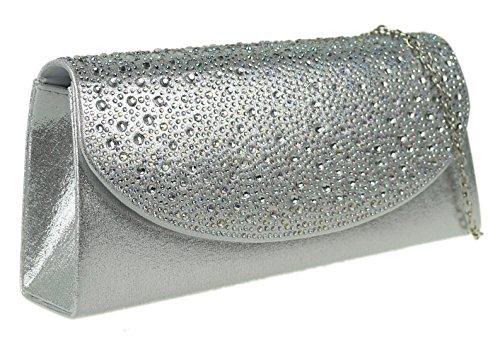 Satin HandBags Bag Girly Clutch Silver Gemstones EOnCq