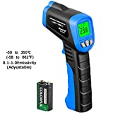 Laser Infrared Thermometer, HOLDPEAK 981A Non-Contact Laser IR Temperature Gun Instant-read with 1 9V Batteries(Included) Emissivity 0.1-1.0(Adjustable) Range -50 to 350?(-58 to 662?)