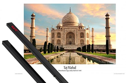 1art1 Taj Mahal Poster (36x24 inches) The Crown of Palaces in The Morning Sun and 1 Set of Black Poster Hangers