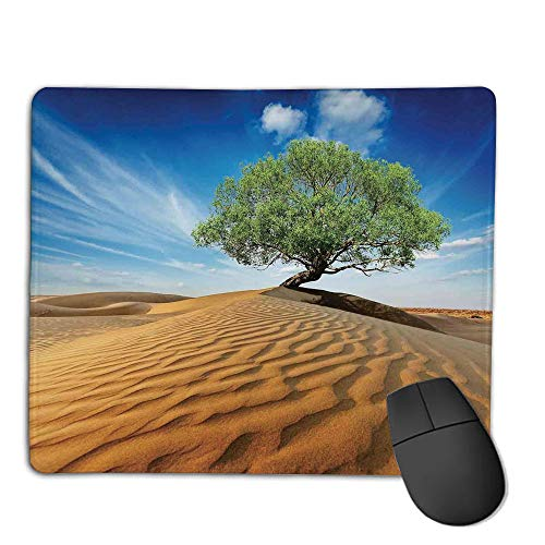 Premium Mouse Pad with Waterproof, Non Slip & Elegant Stitched Edges,Tree of Life,Tree in The Desert on Sand Dune Dry But Alive Nature Habitat Life Photo,Blue Cream Green,Consoles More Enjoy Precis ()