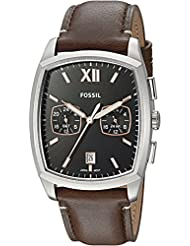 Fossil Mens Knox Dual Time Quartz Stainless Steel and Leather Casual Watch, Color:Brown (Model: FS5356)
