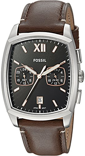 Fossil Men's 'Knox Dual Time' Quartz Stainless Steel and Leather Casual Watch, Color:Brown (Model: FS5356)