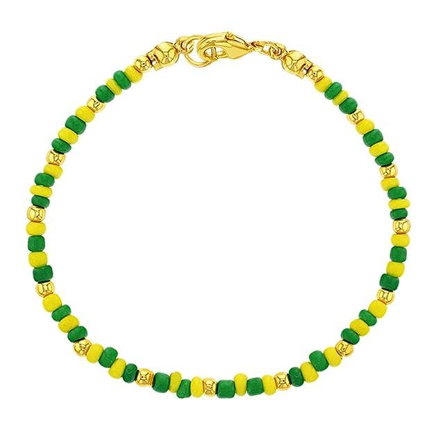 """14K chapado en oro pulsera de perlas de color verde amarillo Santeria Orula Babalawo Unisex 7"""""""