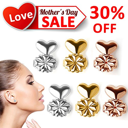 Earring Lifters,Earring Backs Secure Prime 3Pairs of Adjustable Hypoallergenic Ear Lobe Support Patches Gold Silver Rose Gold Color Earring Lifts Best MOTHERS DAY Gift for Mom Women Birthdays Gifts (Standard Nose Needle Pliers)
