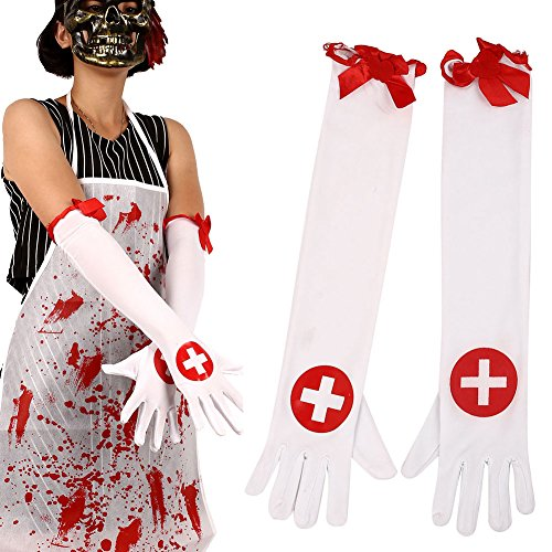 monque Adults Halloween Nurse Bloody Cross Gloves Long