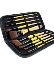 ARTIFY 10 Pcs Paint Brush Set Includes a Carrying Case Perfect for Acrylic, Oil, Watercolor and Gouache Painting