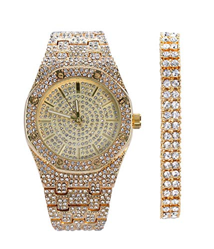 Mens Gold Octagonal CZ Watch with 2 Row Tennis Bracelet | 40mm Dial | Japanese Movement | 2 Piece Gift Set | Free Gift Box Included ()