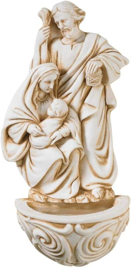 Resin Holy Family Saint Joseph Mary and Infant Christ Water Font 6.5 Inch