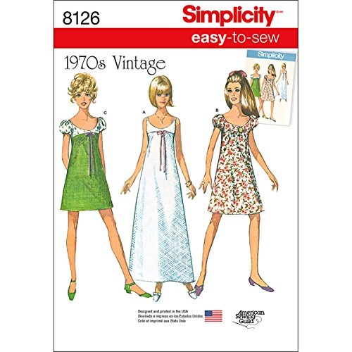 Simplicity 8126 Simplicity Easy to Sew 1970's Vintage Fashion Women's Dress Sewing Patterns, Sizes 14-22 ()