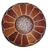 Moroccan handmade leather pouf ottoman round footstool color dark Almond Unstuffed