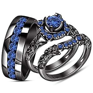 Vorra Fashion Full Black Rhodium Plated His & Her Engagement Ring Wedding Band Trio Set