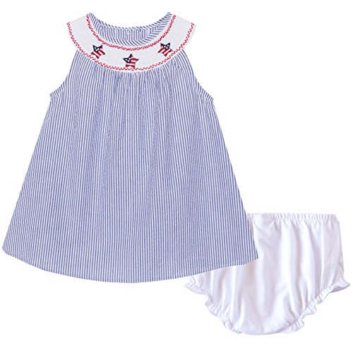Good Lad Navy Seersucker July 4th Smocked Collar Dress (12M) (Baby Smocked White Dress)