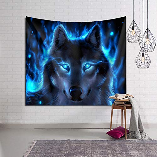 - Beach Surfers Fantasy Blue Flaming Fire Wolf Decorative Tapestry Tapestries Wall Hanging Art Decoration 60x90 Inches