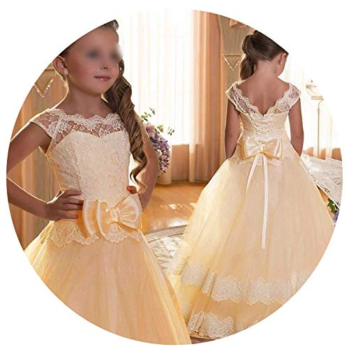 Princess Girls Dress 2019 Summer Lace Performance Evening Party Dress Kids Dresses for Girls Wedding Dresss,Champagne1,9