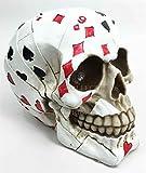 Ky & Co YesKela Poker Card Face Gambler Head Skull Figurine Spooky Halloween Decor Collectible