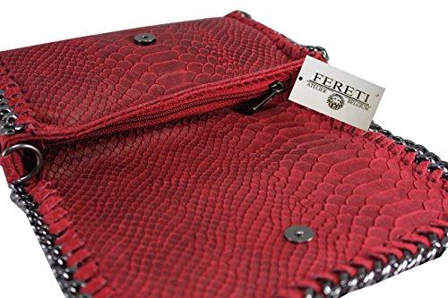 cuero FERETI cadena de bolso bandolera Rojo con qwn1f7x4tw